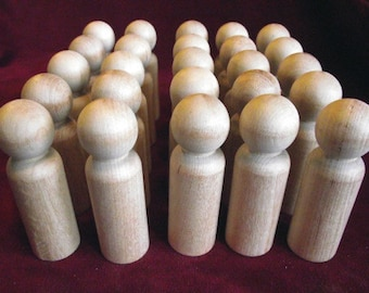 Bulk Pack of 25 of the No. 4 Tall Man Peg Doll, Unfinished