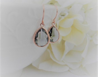 Rose Gold Earrings - Gray Earrings - Rose Gold Bridesmaid Earrings -  Wedding  Earrings - Bridesmaid Gift - Dangle Earrings - Gift Idea