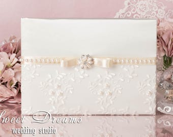 Guest Book, Ivory Wedding Guest Book, Wedding Guest Book, Lace Guest Book, Guest Book Wedding, Wedding Guestbook, Wedding Album Personalized