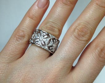 925 Sterling Silver Ring, Art Deco Design Ring, Vintage Ring, Silver Ring, ring Band