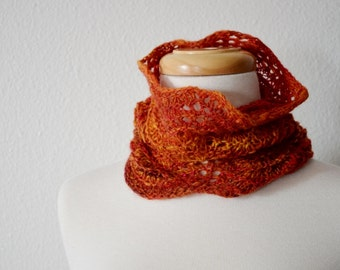 Lace Neckwarmer / Head Wrap Hand Knit from Handspun Yarn - Boho, Tribal, Fire. Bright Red, Orange, Yellow. Wool and Sparkle. Soft Light Knit