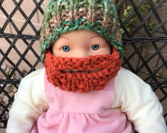READY TO SHIP Baby Bearded Beanie - Green Brown Hat with Orange Red Ginger Beard 0-6 months Lumberjack