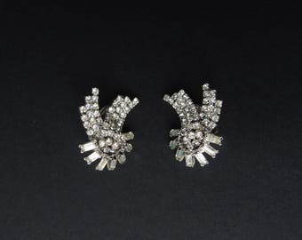 Mid Century Modern Rhinestone Earrings Signed Jewels by Julio 1950s Atomic Space Age Designer Clip Ons