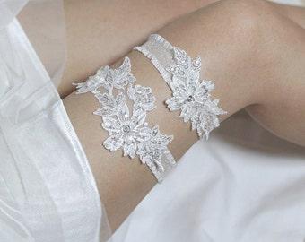 White lace garter set, bridal garter set, lace garter set, wedding garter set, bridal garter belt