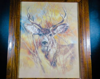 "Framed K Maroon Print Silent Buck Signed Dated 1978 Matted 24"" x 20"" Nature Woods Deer"