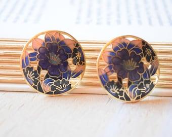 Vintage Genuine Cloisonne Purple Flower Earrings