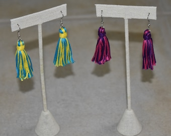 Floss Tassel Earrings. Surgical Steel Earrings. Bright Spring Colors. Easter Accessories. Duo Tassels. Birthday Gift. Gift For Her.