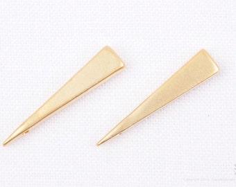 P708-MG// Matt Gold Plated 4 x 12mm Triangle Pendant, 6pcs