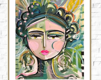Warrior Girl PRINT, abstract faces, Maren Devine, large art, Jungle, paper or canvas