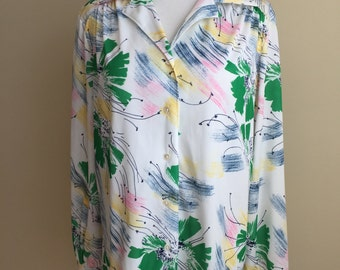 Vintage 1970s Button-Down Blouse with Abstract Floral Pattern