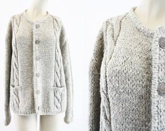 Vintage Norwegian Wool Cardigan Sweater / Beige / Gray / Button Down / Retro / Woman's / Handstrick Arbeit