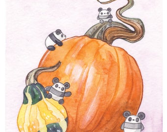 Pocket Pandas® - Autumn Gourds - 8.5x11 Print
