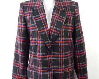 30% SPRING SALE Vintage 1980s Kim Rogers Tartan Plaid Checkered Houndstooth Print Black Red Wool Blend Long Blazer Jacket Sz 12 Large