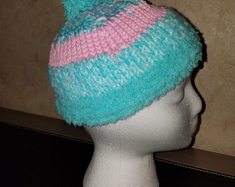 Child's Pink and Blue Knitted Beenie