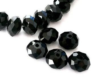 20 jet black 8mm Chinese crystal beads, 8mm x 6mm rondelles, sparkly black rondelles