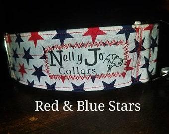Dog Collar- Red,  White, & Blue