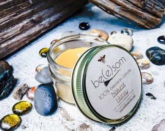 100% Pure Unscented Beeswax 3oz jar candle. Heilala Vanilla, Lemon Eucalyptus, Ceylon Cinnamon or Natural Honey Scent.