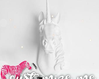Custom Unicorn Head Wall Mount, Custom Bayer Unicorn Wall Art by White Faux Taxidermy Unicorn Decor, great gift to those Near and Dear