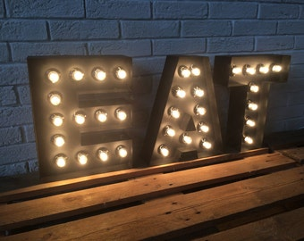 Letters of metal LARGE EAT sign light up kitchen or restaurant decor,  light up sign industial decor. Bar & Dinner sign EAT, Real bulbs
