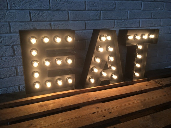 Items Similar To Letters Of Metal Large Eat Sign Light Up