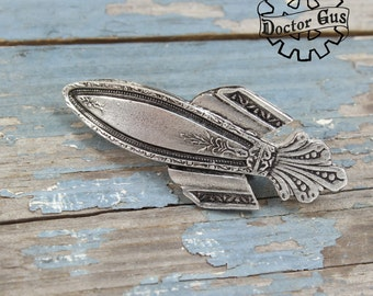Rocket Ship Hair Clip - Inspired by Antique Victorian Silverware - Handmade Steampunk French Barrette - Handcrafted Accessories Doctor Gus