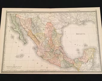 1888 Map of Mexico Original Antique Map, Scarce Extra Large Map by Rand McNally, Vintage Map for Framing