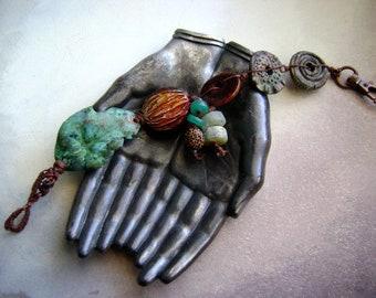 metal leaf bracelet, ooak assemblage bracelet, artisan ceramics, organic earthy, forged leaf jewelry, bohemian rustic, anvilartifacts