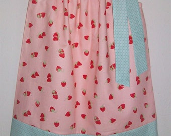 Pillowcase Dress with Strawberries Girls Dresses with Berries Strawberry Dress Spring Dresses Summer Dresses Kids Clothes Coral Pink