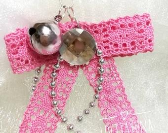 Pink Ribbon Key Chain,Ribbon Hanging Ornament,Gorgeous Charm,Strap,Key Chain,Phone Decoration,Phone Accessories,Cute Decoration,Phone Deco