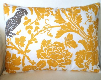 Yellow Pillow Cover, Decorative Throw Pillow, Cushion Cover, Yellow Taupe Bird, Lumbar Pillow, Couch Bed Chair One 12 x 16 or 12 x 18 Lumbar