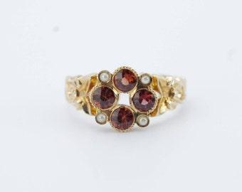 Vintage 14K Rose Gold Garnet & Seed Pearl Flower Cluster Ring