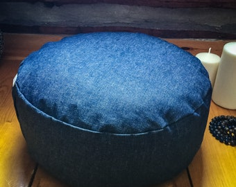 Pouf Zafu meditation cushion - Denim - jeans handmade by Creations Mariposa