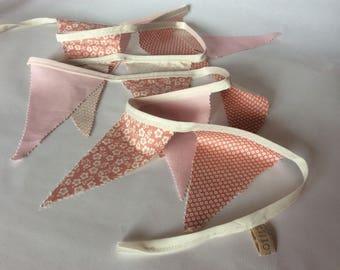 Salmon pink Bunting / linen