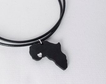 Ebony Africa necklace ebony pendant Africa pendant Africa map Adoption jewelry