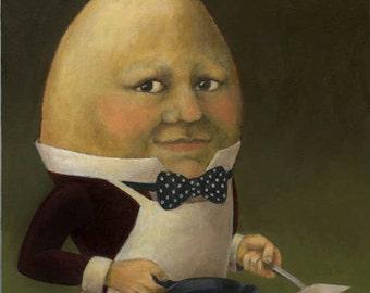 Food Print - Kitchen Print  - Anthropomorphic Egg  - Egg Man Portrait -- Uncle Omelette