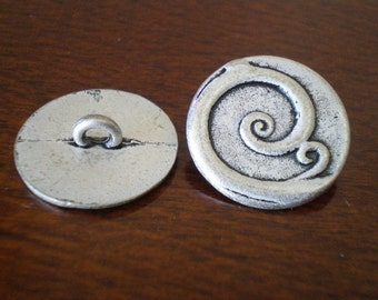 """Metal Buttons Round Curly Q with Shank Jewelry Making Supplies DIY Beading Supplies Swirls Unique Closure Fastener - 13/16"""" (20mm) 3 Pieces"""