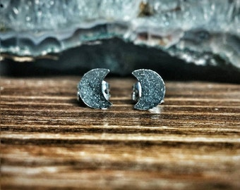 Crescent Moon Studs. Crushed Hematite Celestial Post Earrings. Gift for Astronomy Lover.