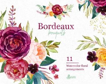 Bordeaux. Bouquets, 11 watercolor floral arrangements, clipart, burgundy, maroon, purple, bridal, wedding, flowers, peony, marsala, trend