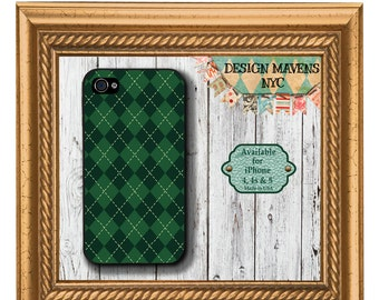 Green Plaid iPhone Case, St. Patricks Day iPhone Case, Holiday iPhone Case, iPhone 4, 4s, iPhone 5, 5s, 5c, iPhone 6, 6s, 6 Plus, Phone Case