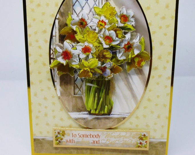 3D Decoupage Greeting Card, Vase of Spring Flowers, Birthday Card, Easter Card, Daffodils, Female, Any Age,