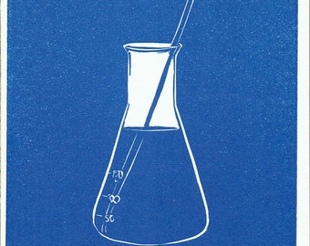 Erlenmeyer Flask - Set of 5 Letterpress Printed Handmade Stationery