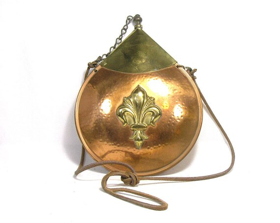 Copper and Brass Powder Flask with Fleur De Lis