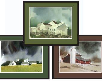 3 Watercolors   Barns     Paintings