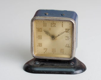 Small Blue Alarm Clock, Desk Clock, Analog Wind Up Clock, Small Square Clock