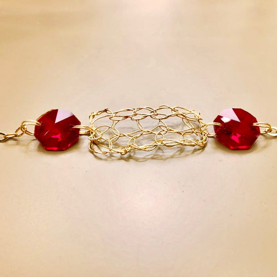 SJC10112 - Handmade 14K gold filled wire crochet and chain bracelet with red crystal prisms from a chandelier