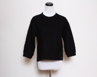 VTG 90s Black Plain Fuzzy Sweater M