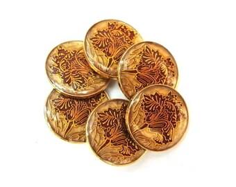 6 Buttons, flower ornament, vintage, metal, beautiful colors, 23mm
