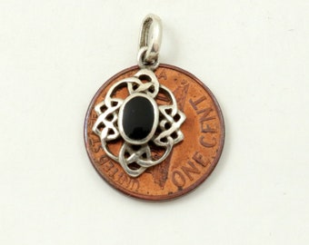 Vintage 925 Sterling Silver and Black Onyx Celtic Knot Pendant, Small