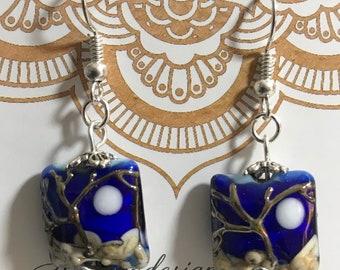 Blue Handmade lampwork CELESTIAL PILLOW earrings  in royal blue