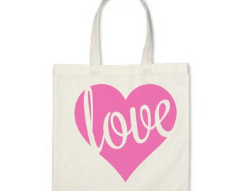 Love Canvas Tote - White Cotton Canvas Tote Bag - Heart Tote Bag - Valentines Day Tote Bag